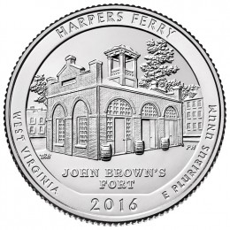 2016-P American 25-Cent National Parks: Harpers Ferry Brilliant Uncirculated Coin