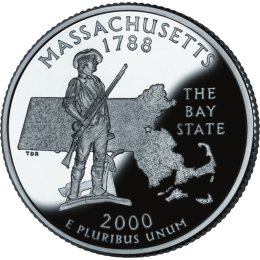 2000-P American 25-Cent State Quarter Series: Massachusetts Brilliant Uncirculated Coin