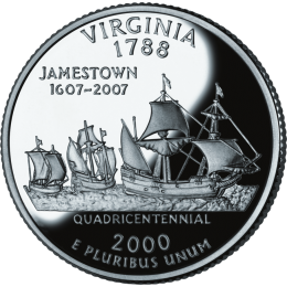 2000-P American 25-Cent State Quarter Series: Virginia Brilliant Uncirculated Coin