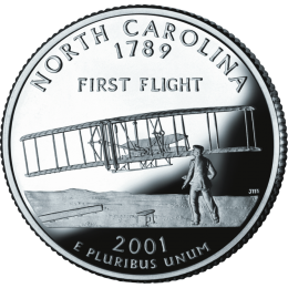 2001-P American 25-Cent State Quarter Series: North Carolina Brilliant Uncirculated Coin