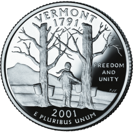 2001-P American 25-Cent State Quarter Series: Vermont Brilliant Uncirculated Coin