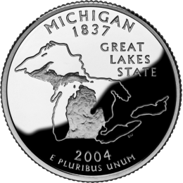 2004-P American 25-Cent State Quarter Series: Michigan Brilliant Uncirculated Coin