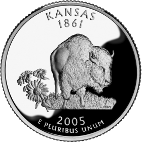 2005-D American 25-Cent State Quarter Series: Kansas Brilliant Uncirculated Coin