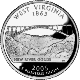 2005-D American 25-Cent State Quarter Series: West Virginia Brilliant Uncirculated Coin