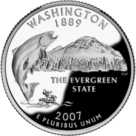 2007-D American 25-Cent State Quarter Series: Washington Brilliant Uncirculated Coin