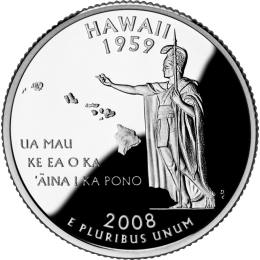 2008-P American 25-Cent State Quarter Series: Hawaii Brilliant Uncirculated Coin